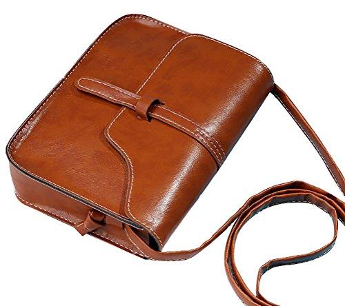QZUnique Women's Soft PU Leather Fashion Vintage Style Cross Body Shoulder Bag Light Brown (Amazon Purses compare prices)