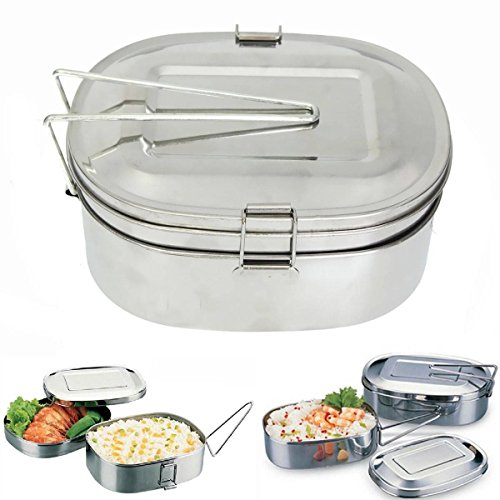 king-do-way-two-layers-simple-portable-silver-oval-stainless-steel-food-container-bento-lunch-box