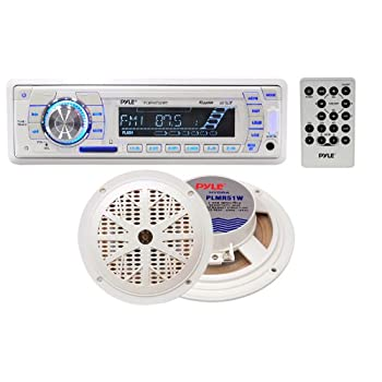This white Pyle headunit with speakers is perfect for marine applications – the headunit has a special marine coating for water resistance. Blast your tunes out at sea or by the dock with this powerful unit. It tunes AM/FM and plays MP3s from a USB s...