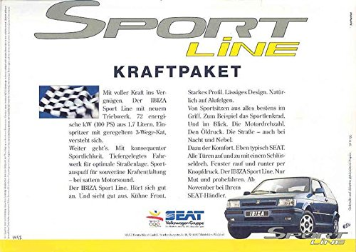 1992 Seat VW Ibiza Sport Line Brochure Spain German balanced new turbocharger core chra garrett gt1749vb 721021 038253016gx 03g253016r for seat ibiza ii 1 9 tdi arl 110kw
