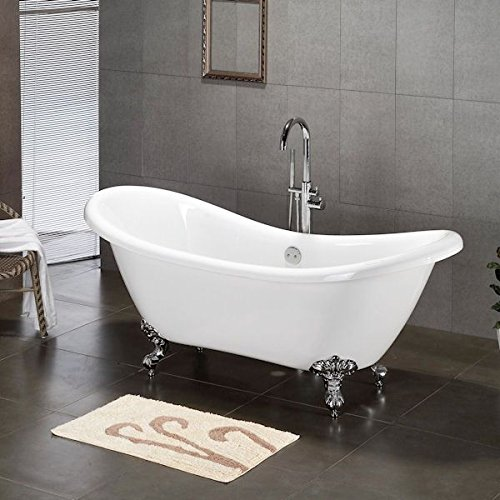 Cambridge Plumbing Ades-684d-pkg-cp-7dh Acrylic Double Ended Slipper Bathtub 68 X 28 With 7 Deck Mount Faucet Drillings And Complete Polished Chrome Plumbing Package (Cambridge Tub compare prices)