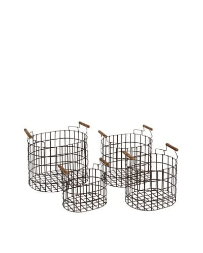 Metal Baskets with Wooden Handles