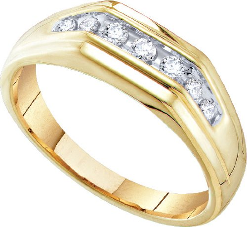 Stunning Mens 10k Yellow Gold Diamond Wedding Ring
