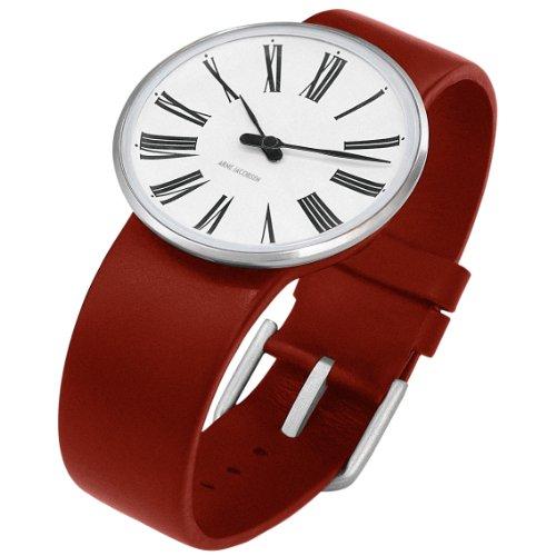 "Rosendahl Arne Jacobsen Watch White Roman Dial Red Calf Skin Band (1.6"" Dia.)"
