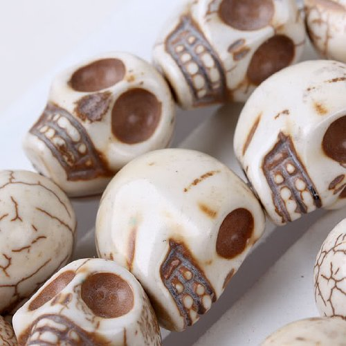 "WHITE HOWLITE TURQUOISE CARVED SKULL GEM 16"" LOOSE BEAD [could be converted into a POWER NECKLACE] - From Hibiscus Express"