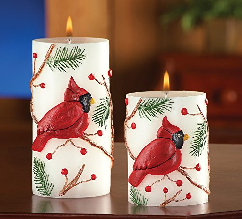 Set of 2 Cardinal Bird Paraffin Candles Holiday Accent Christmas Decor (White Gold Wax compare prices)