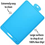 Vikalis Premium Silicone Cutting Board - Durable, Nonslip, Heat Resistant Board for Chopping & Cutting - Blue