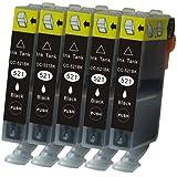 N.T.T.® 5x Tintenpatronen XL mit Chip kompatibel zu Canon CLI-521BK Schwarz / Black, Sparpack