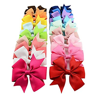 Lucky God 20 Pcs Boutique Girls Kids Alligator Clip Grosgrain Ribbon Hair Bows Clips 20 Colors