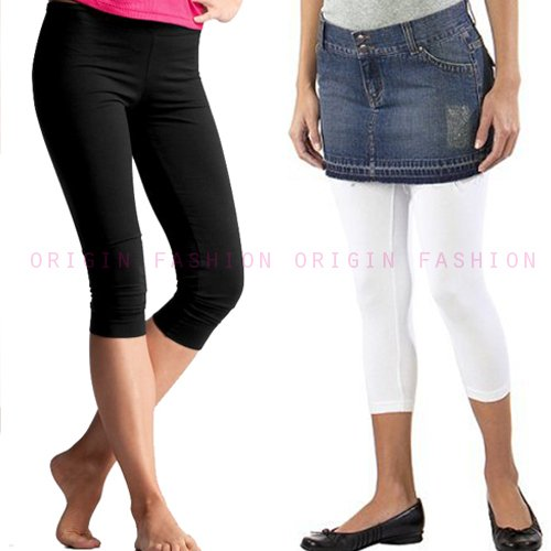 Origin Fashion Womens Girls Black and White Plain Stretch 3/4 Short Leggings Leggins UK Size 6 8 10 12 14 16 18
