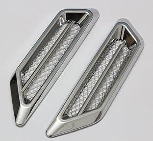2X Universal Car Side Mesh Vent Air Flow Fender Decoration Sticker chrome silvery