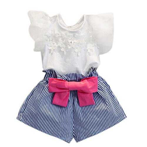 FEITONG Girls Lace T-shirt+Stripe Shorts Set (Age:4-5Y) Kids Casual Shorts