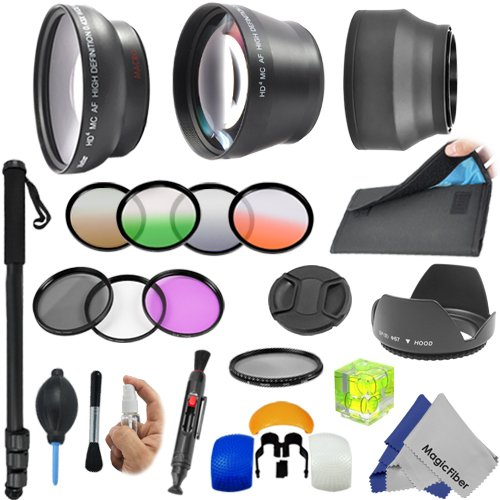 """67MM Professional Lens Accessory Kit for NIKON DSLR D7100 D7000 D5300 D5200 D5100 D3200 D90 D80 D70 with a 18-105MM, 18-140MM or a 70-300MM Zoom Lens – Includes: 0.43x Wide Angle & 2.2x Telephoto HD Lenses + 67"""" Monopod + Vivitar Filter Kit (UV, CPL, FLD) + Flash Diffuser Set + 4 Graduated Color Filters + Variable Neutral Density ND + Collapsible Lens Hood + Tulip Lens Hood + Filter Carry Pouch + Center-Pinch Lens Cap + 3 Axis Bubble Level + Deluxe Cleaning Kit + MagicFiber Microfiber Cleaning Cloth"""