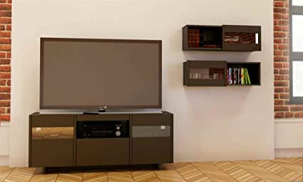 3-Pc Eco-Friendly Entertainment Set in Ebony Finish