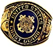 Coast Guard Ring - 18K Heavy Gold Electroplated Ring with Stone - USCG Veteran Ring.