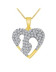 Colortone Heart Shape 18k Gold Plated Pendant With Chain For Women