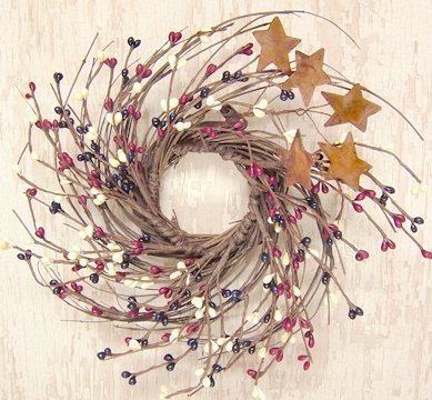 Country Mix Pip and Twig with Rusty Star Wreath, 7-Inch