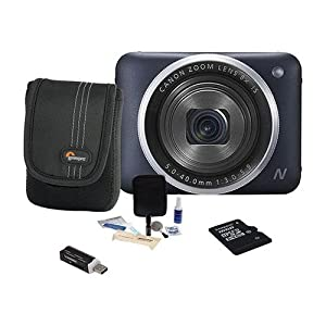 Canon PowerShot N2 Digital Camera, 16.1 Megapixel, Black, - Bundle With 16GB MicroSDHC Card, Camera Case, Cleaning Kit, Card Reader