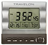 Travelon Luggage Large Display Travel Alarm Clock, Silver, One Size