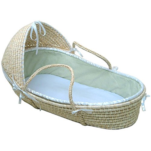 Why Choose Badger Basket Natural Moses Basket with Hood, Sage Waffle Bedding