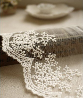Best Prices! White Embroidery Lace Trim Lace Cotton Embroidery 1Yard 11cm Wide