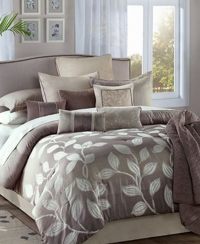 JLA Home Angelica 12 Piece Jacquard Queen Comforter Set