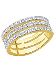 18 Karat Gold Plated Three Row Open Shank Half Eternity Round CZ Statement Band Ring PR3024