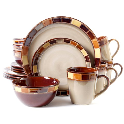 Gibson Casa Estebana 16-piece Dinnerware Set Service for 4, Beige and Brown Dinnerware
