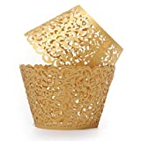 Baloray Pack of 24 Filigree Little Vine Lace Laser Cut Cupcake Wrapper Liner Baking Cup Muffin Case Trays Wedding Birthday Party Decoration (Gold)