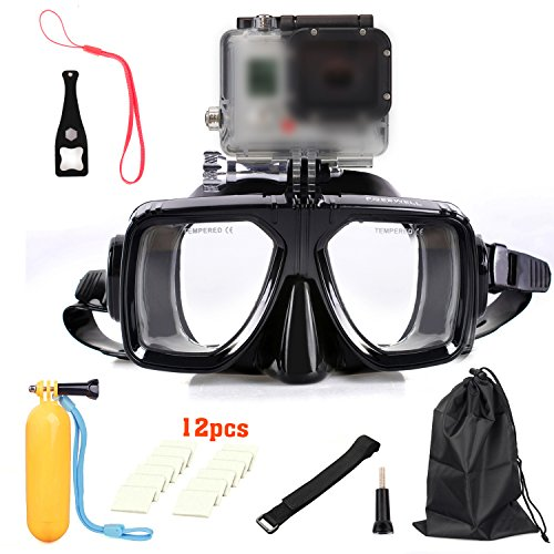 New Diving Glasses Mask Camera Accessory Kits -in-1 Dive Scuba Mask Snorkel Snorkeling Diving Glasses Cover Goggles Tempered Glass for Gopro-Black
