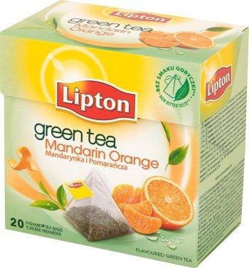 Lipton Green Tea - Mandarin Orange - Pyramid Tea Bags-1 Box -
