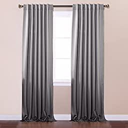 Best Home Fashion Thermal Insulated Blackout Curtains - Back Tab/ Rod Pocket - Grey - 52\