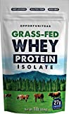 Grass Fed Whey Protein Powder Isolate   Unflavored   Easy to Mix   Non GMO   Gluten Free   1 Lb (454 grams)