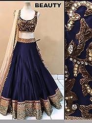 Khazanakart women Blue cotton bollywood style designer lehenga