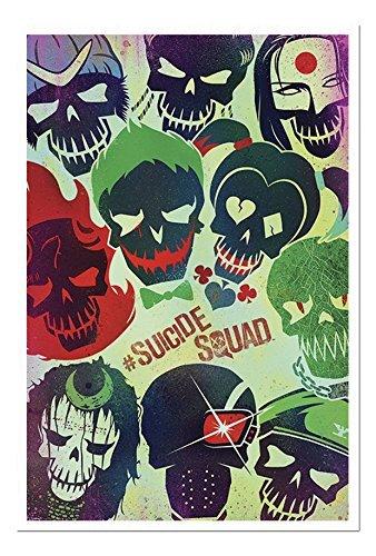 Suicide Squad DC Comics film Skulls poster sughero Pin Lavagnetta Bianco Con cornice-96.5x 66cms (circa 96,5x 66cm)