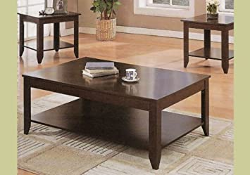 Cappuccino Wood Coffee Table Set Wooden End Tables