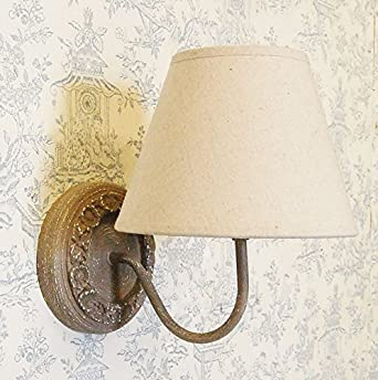 French country shabby chic style circular wall light natural linen shade: Amazon.co.uk: Lighting