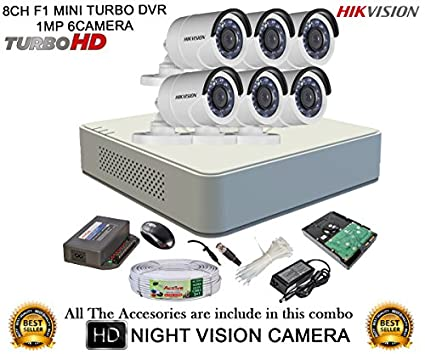 Hikvision DS-7108HGHI-F1 Mini 8CH Dvr ,6(DS-2CE16C2T-IR) Bullet Camera (With Mouse, 2TB HDD, Bnc&Dc Connectors,Power Supply,Cable)