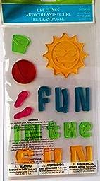 Spring or Summer Window Gel Clings Fun in the Sun, Flip Flops, Beach Ball & Smiling Sun (1 Sheet with 16 Clings)