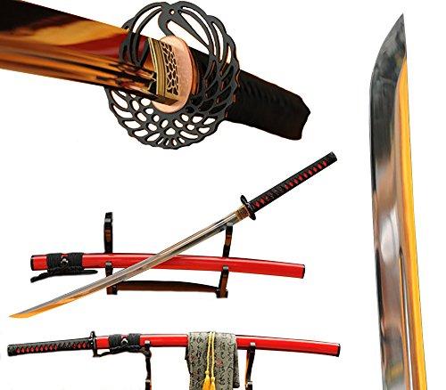 Lyuesword Japanese Handmade Samurai Katana Sword Full Tang 9260 Spring Steel Blade Katana Sword Real