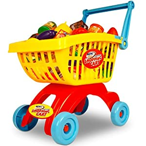 shopping cart toy child supermarket trolley cart basket kids food toy games pretend play set. Black Bedroom Furniture Sets. Home Design Ideas