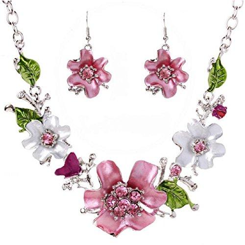Collana e Orecchini Set, Ularma Boemia Fiore Diamante Gioiell
