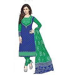 PShopee Green & Blue Cotton Unstitched Salwar Suit Dress Material