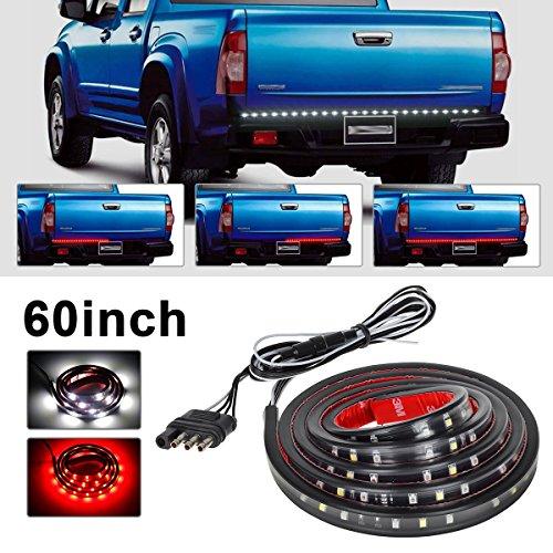 """Partsam 60"""" Red/white Tailgate LED Strip Light Bar Truck Reverse Brake Turn Signal Tail for 2003-2012 Dodge Ram 1500 2500 3500 4500 5500"""