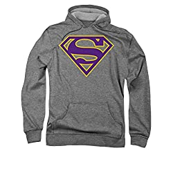 Superman Heather Purple And Gold Shield Pull Over Hoodie