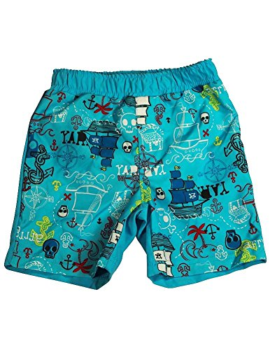 Bunz Kidz - Baby Boys Pirate Ships Swimsuit, Turquoise 34999-18Months
