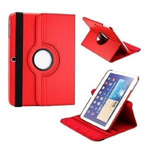 Housse/etui rotatif effect grainé haute qualité pour Galaxy Tab 3 10.1'', Rouge