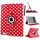 STYLEYOURMOBILE {TM} APPLE IPAD MINI PU LEATHER MAGNETIC FLIP CASE COVER + SCREEN PROTECTOR + STYLUS (Polka Dot Red)