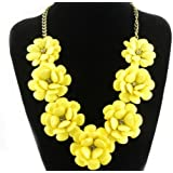 fit&wit Color Golden Plated Chain 7 Flowers Mint Statement Fashion Flower Necklace YELLOW