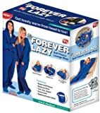 Forever Lazy Soft Fleece Adult Lounge Wear As Seen on TV - Extra Small (XS) / Small (S) in Cobalt Blue - (Sizes Run Large) - Fl011106. Bonus: Matching Slipper Socks